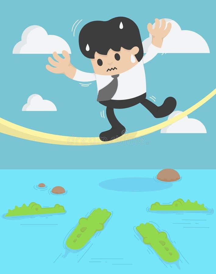 Hombre de negocios que equilibra en el cocodrilo de la cuerda estafa de la crisis del negocio stock de ilustración