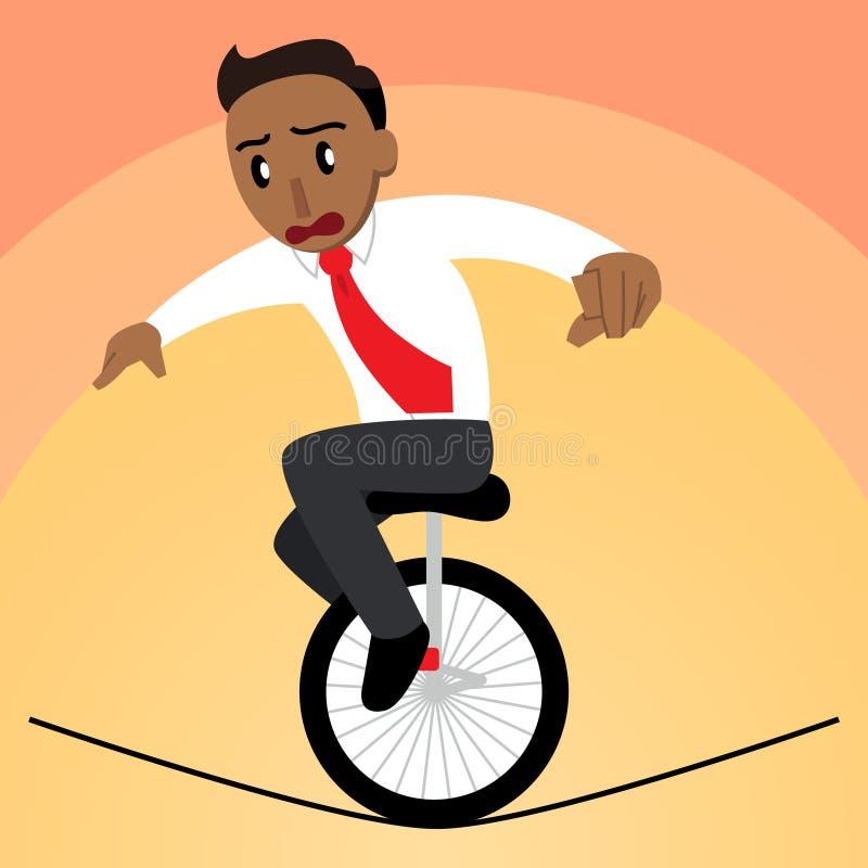 Hombre de negocios que equilibra en un Unicycle en una versión bronceada cuerda tirante ilustración del vector