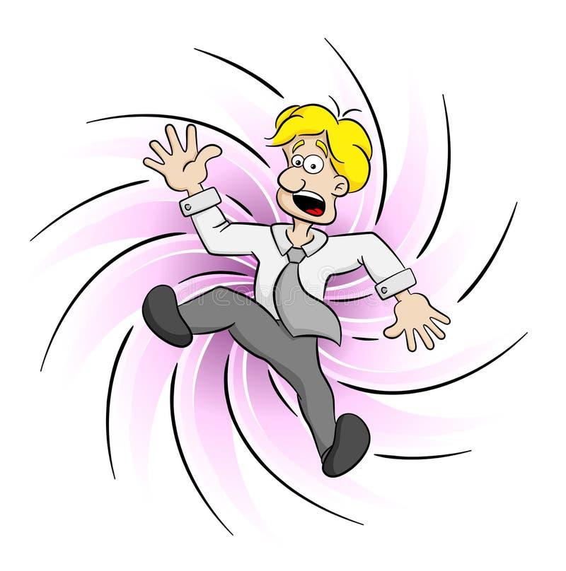 Hombre de negocios que es cogido por un remolino ilustración del vector