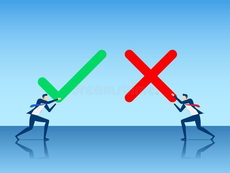 Hombre de negocios que es verdad la muestra y falsa Positivo y concepto del voto negativo Sí o ningún estilo plano del diseño de  ilustración del vector