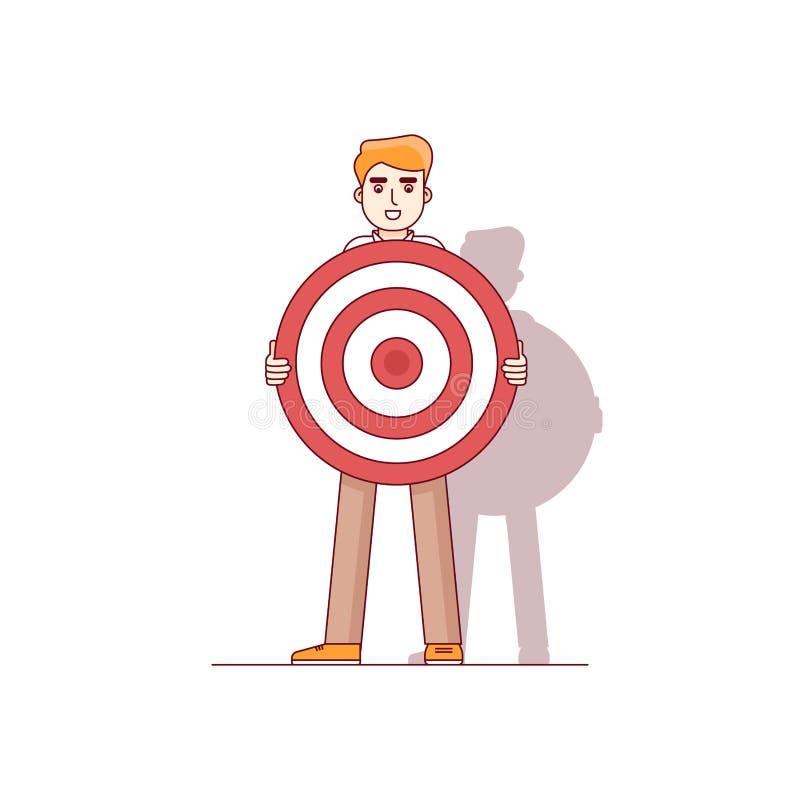 Hombre de negocios que espera una flecha de la oportunidad stock de ilustración