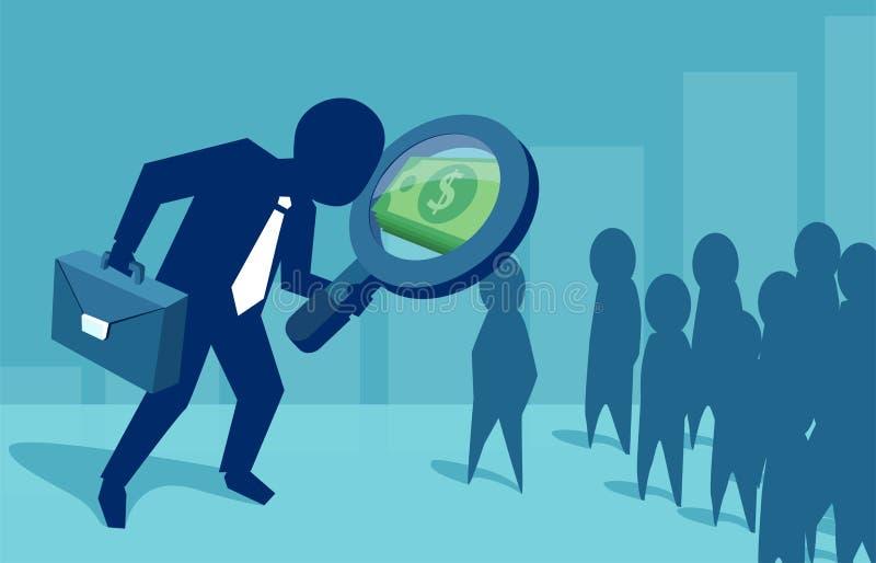 Hombre de negocios que explora nuevas oportunidades del beneficio ilustración del vector