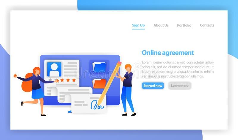 Hombre de negocios que firma el acuerdo de contrato en línea con el ordenador muestra digital elegante del acuerdo Sociedad, trat stock de ilustración