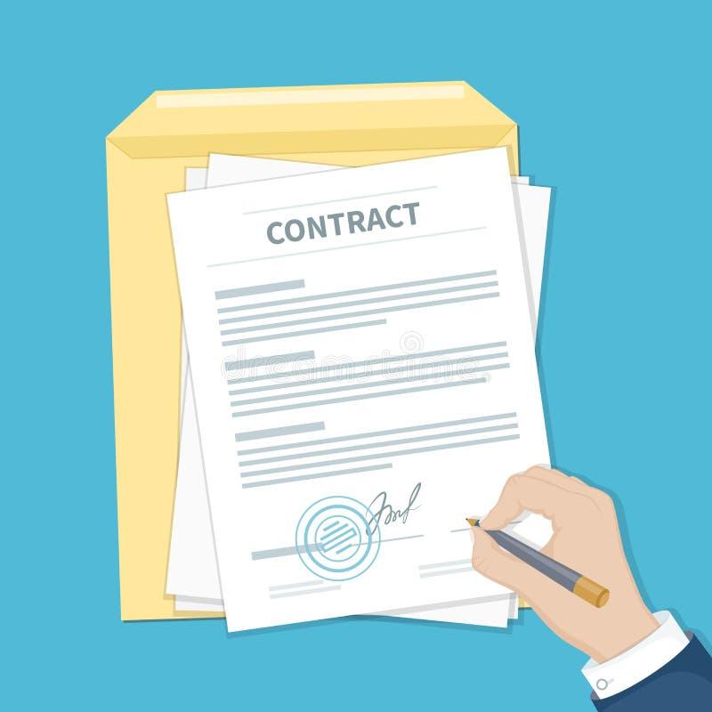 Hombre de negocios que firma un contrato Sirva la mano con la pluma, el documento y el sobre El proceso del acuerdo financiero de stock de ilustración