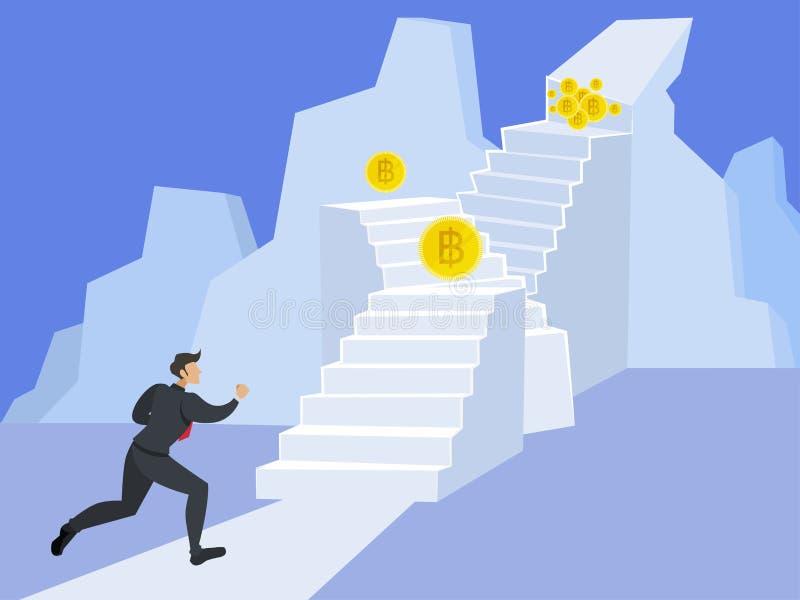 Hombre de negocios que funciona con para arriba la escalera al top de la montaña stock de ilustración