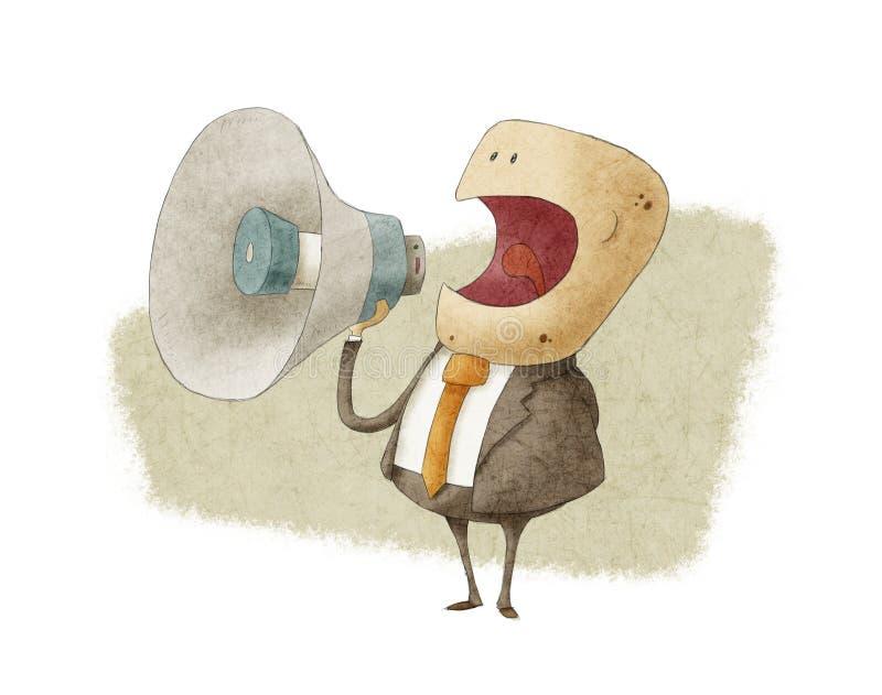 Hombre de negocios que grita en el megáfono ilustración del vector