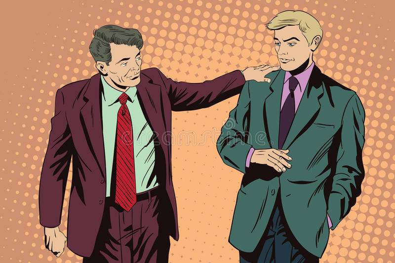 Hombre de negocios que habla algo un colega Ilustración común stock de ilustración