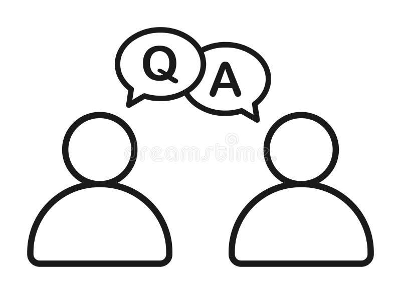 Hombre de negocios que habla con el icono de ruegos y preguntas de la información stock de ilustración