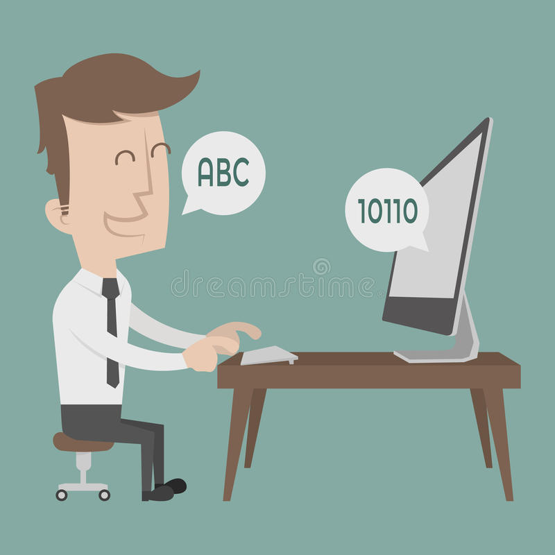 Hombre de negocios que habla con un ordenador ilustración del vector