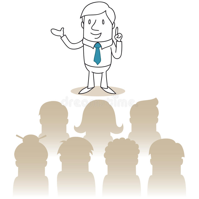 Hombre de negocios que habla delante de una audiencia stock de ilustración