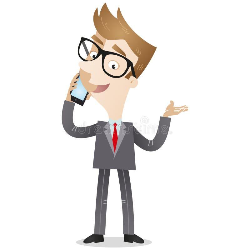 Hombre de negocios que habla en el smartphone ilustración del vector