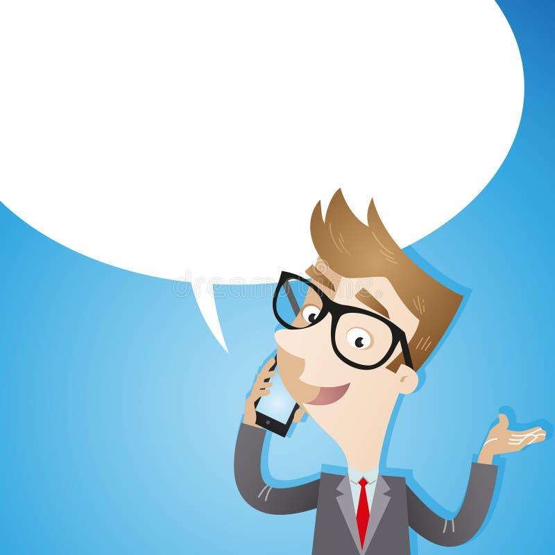 Hombre de negocios que habla en fondo del azul del smartphone stock de ilustración