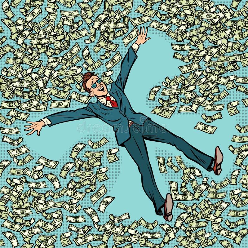 Hombre de negocios que hace dólares del dinero del ángel de la nieve mucho ilustración del vector