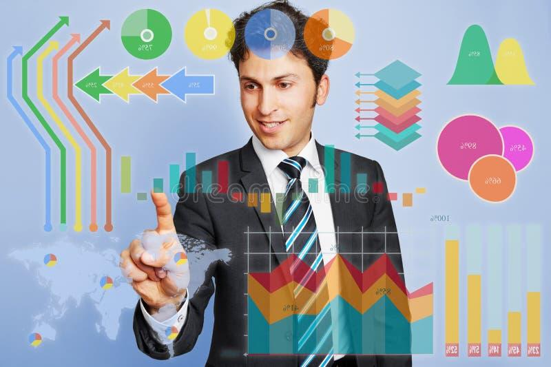 Hombre de negocios que hace el planeamiento con infographic foto de archivo