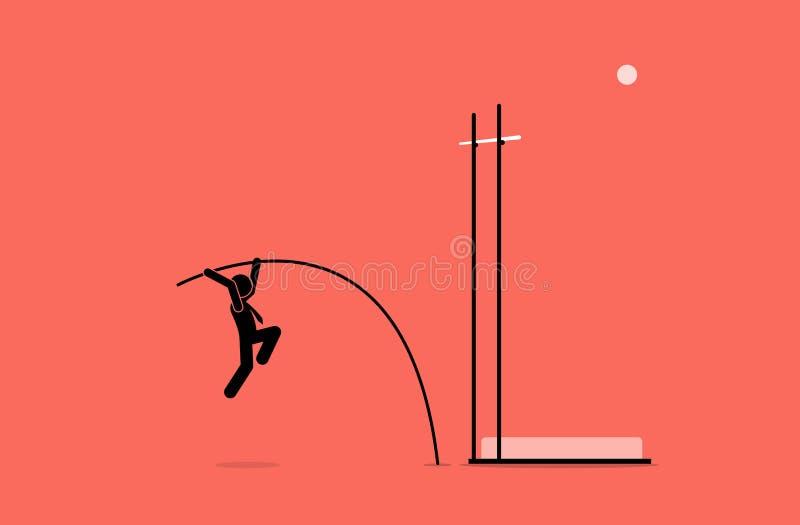 Hombre de negocios que hace el salto con pértiga stock de ilustración