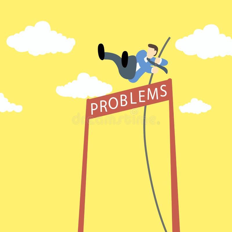 Hombre de negocios que hace la bóveda de polo con problemas como nombre de la barrera ilustración del vector