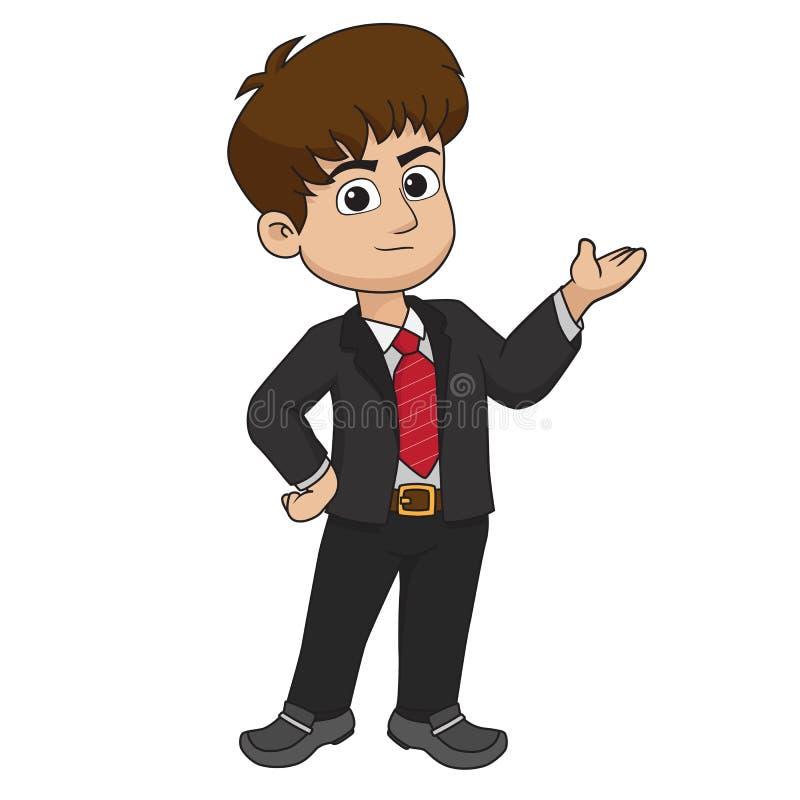 Hombre de negocios que hace la presentación sobre venta del márketing stock de ilustración