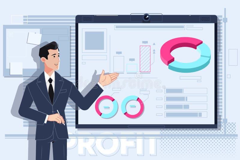 Hombre de negocios que hace una presentaci?n en la oficina Ilustraci?n del vector stock de ilustración