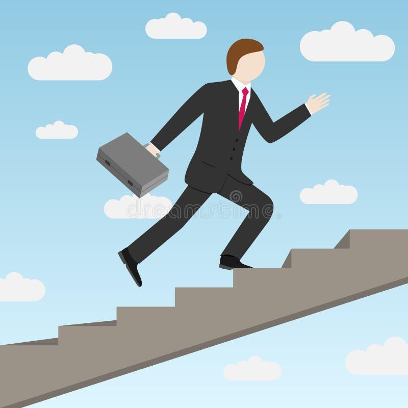 Hombre de negocios que intensifica las escaleras stock de ilustración
