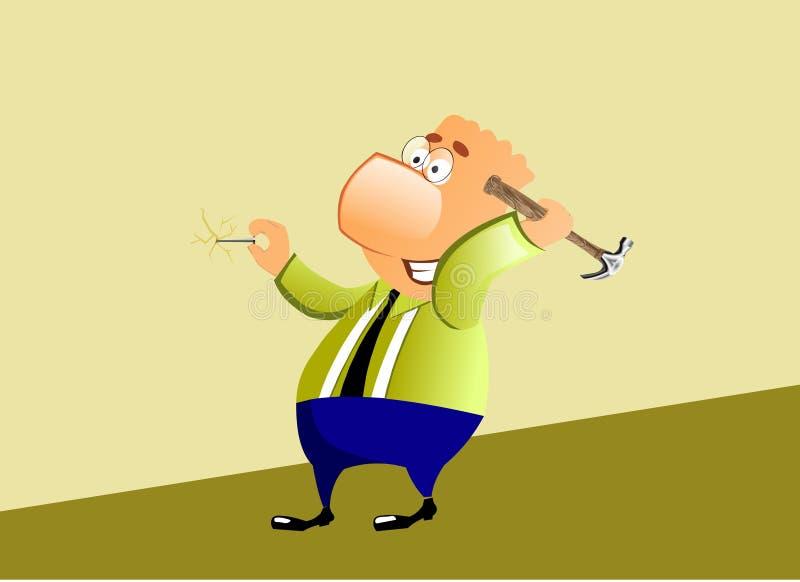 Hombre de negocios que intenta martillar un clavo en la pared. stock de ilustración