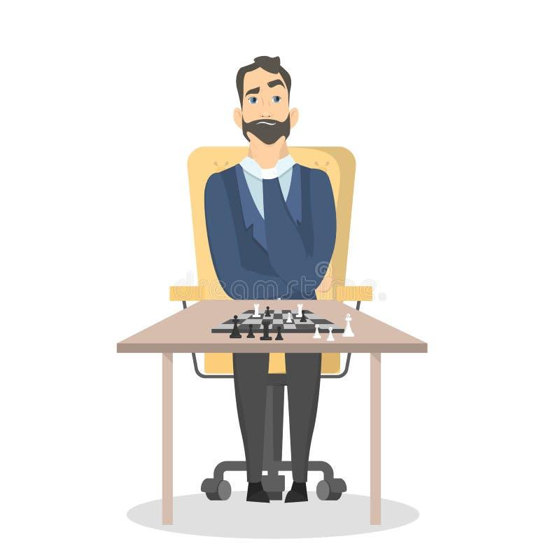 Hombre de negocios que juega al juego de ajedrez libre illustration