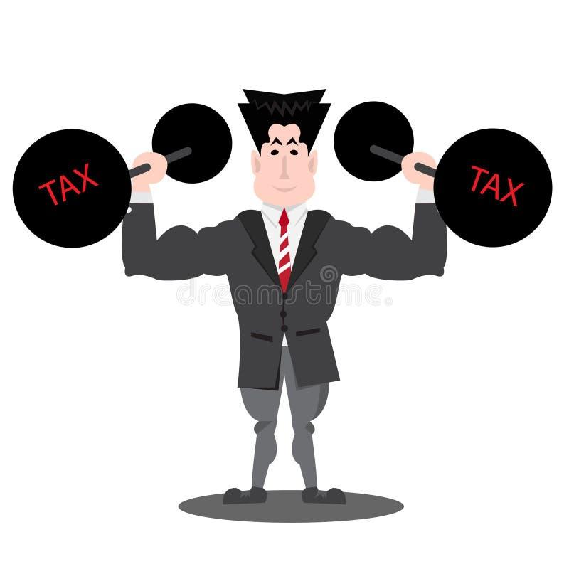 Hombre de negocios que levanta deuda pesada con impuesto libre illustration