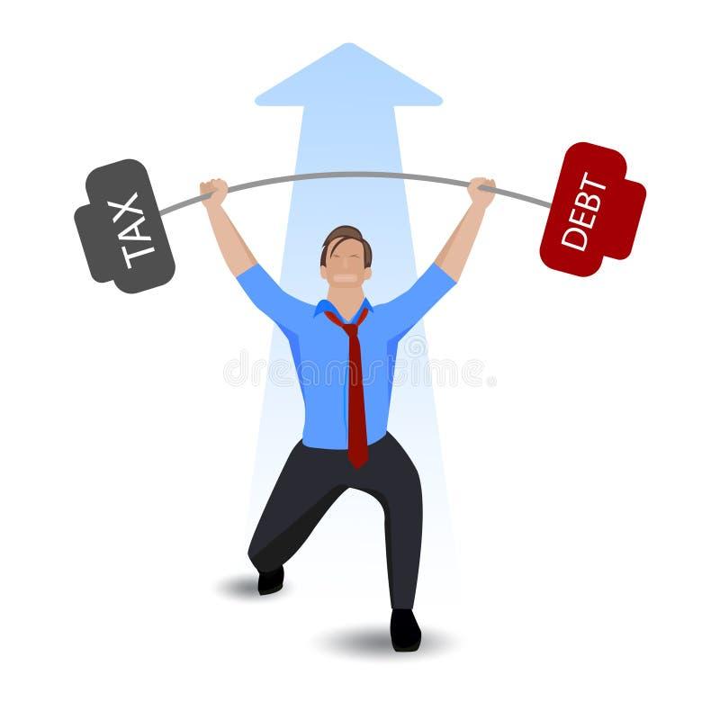 Hombre de negocios que levanta deuda pesada con impuesto sobre el fondo blanco stock de ilustración