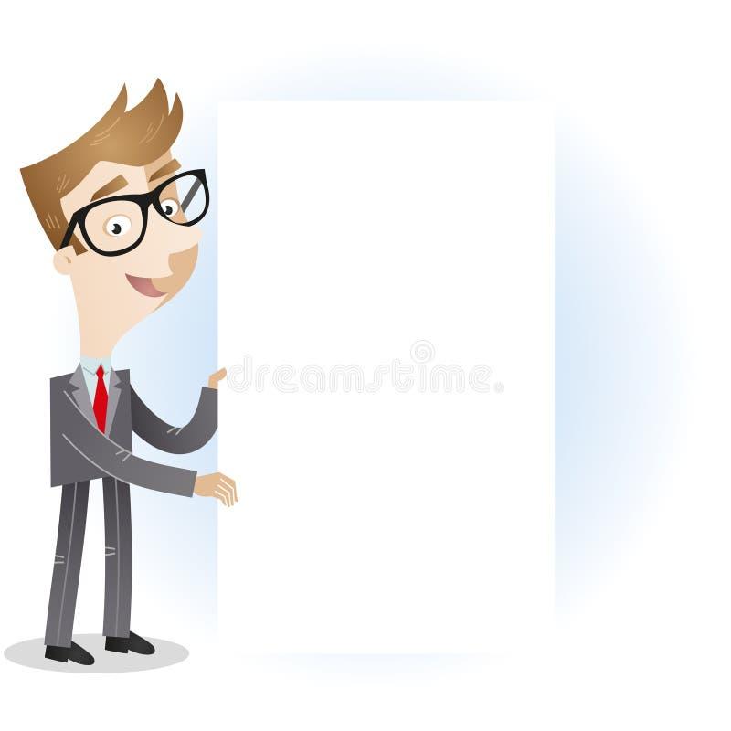 Hombre de negocios que lleva a cabo al tablero de mensajes en blanco ilustración del vector