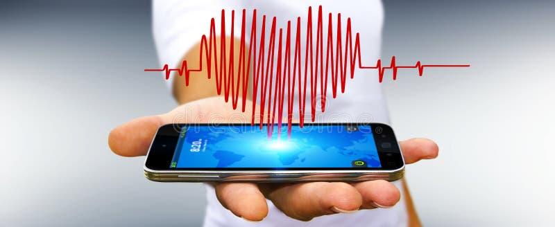 Hombre de negocios que lleva a cabo bosquejo del golpe de corazón sobre el teléfono móvil ilustración del vector