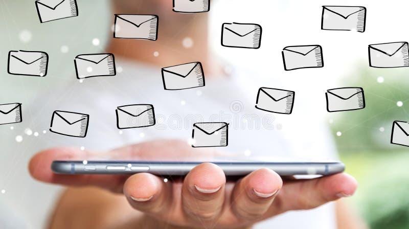 Hombre de negocios que lleva a cabo bosquejo de los correos electrónicos sobre el teléfono móvil ilustración del vector