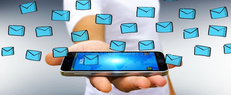 Hombre de negocios que lleva a cabo bosquejo de los correos electrónicos sobre el teléfono móvil stock de ilustración