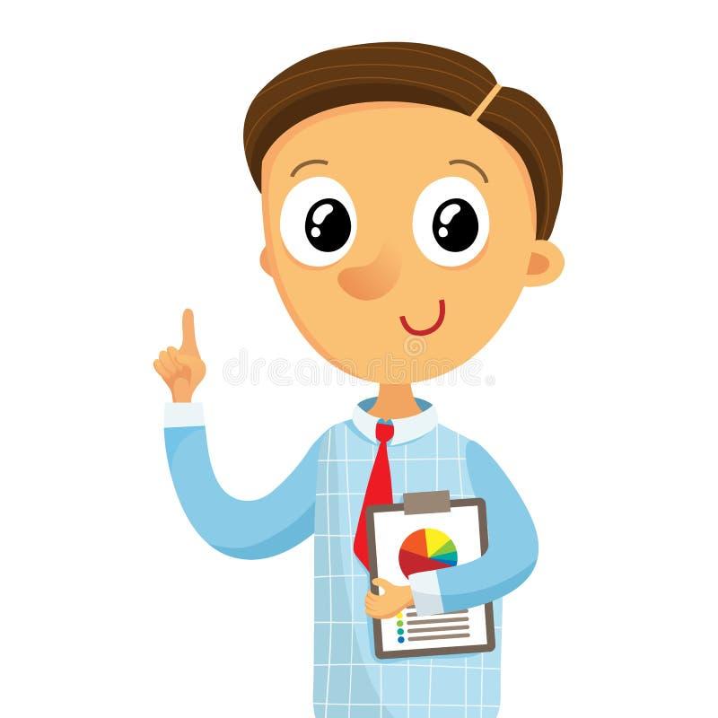 Hombre de negocios que lleva a cabo documentos y que destaca el finger, aislado libre illustration