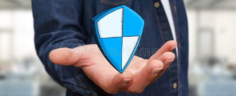 Hombre de negocios que lleva a cabo el icono seguro dibujado mano de la protección del escudo stock de ilustración