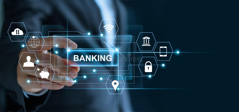 Hombre de negocios que lleva a cabo el ` de las actividades bancarias del ` de la palabra disponible con la red del icono libre illustration