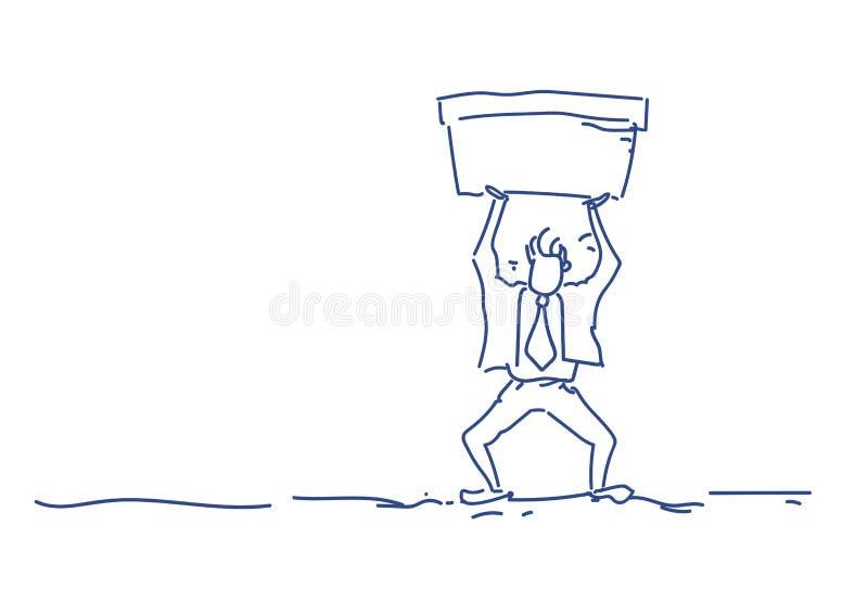 Hombre de negocios que lleva a cabo garabato horizontal de proceso de trabajo duro del bosquejo de la silueta del hombre del conc ilustración del vector