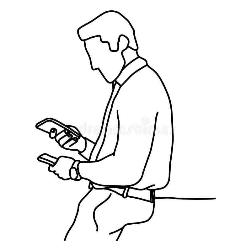 Hombre de negocios que lleva a cabo la mano del garabato del bosquejo del ejemplo del vector del teléfono móvil dos dibujada con  libre illustration