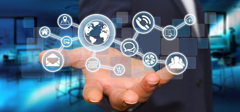 Hombre de negocios que lleva a cabo la red táctil digital del web de la pantalla con el web ilustración del vector