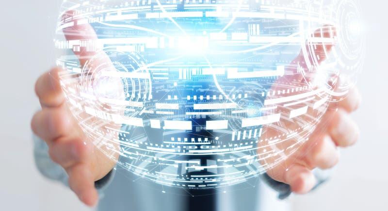 Hombre de negocios que lleva a cabo la representación de la esfera 3D del holograma ilustración del vector