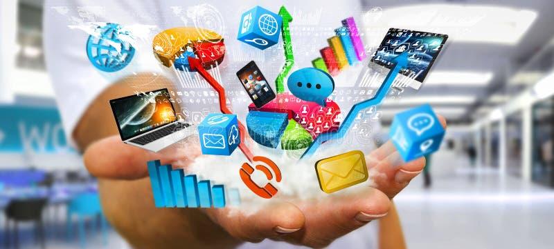 Hombre de negocios que lleva a cabo los dispositivos y las cartas de la tecnología en su mano stock de ilustración