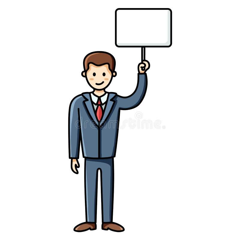 Hombre de negocios que lleva a cabo una muestra blanca Protesta del hombre Elemento de Infographic Car?cter del vector stock de ilustración