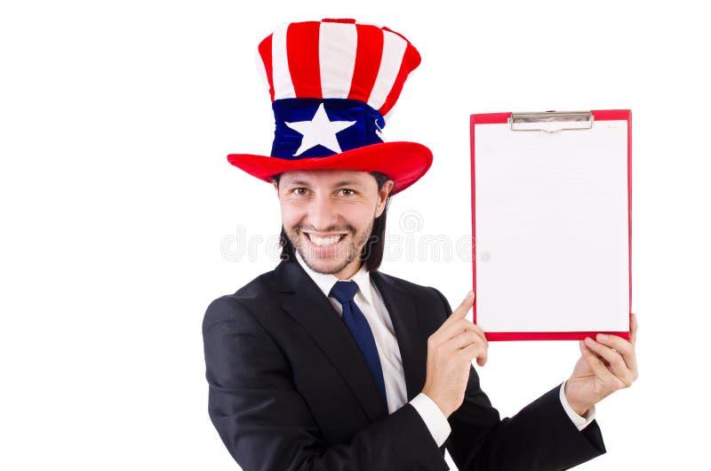 Hombre de negocios que lleva el sombrero de los E.E.U.U. con el papel imágenes de archivo libres de regalías