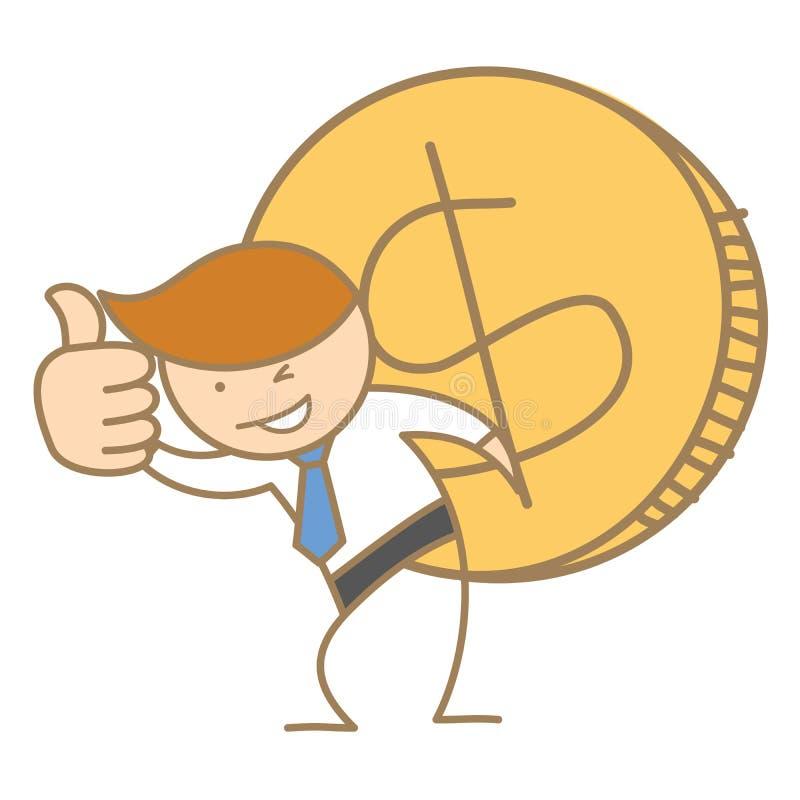 Hombre de negocios que lleva la moneda grande del dólar ilustración del vector