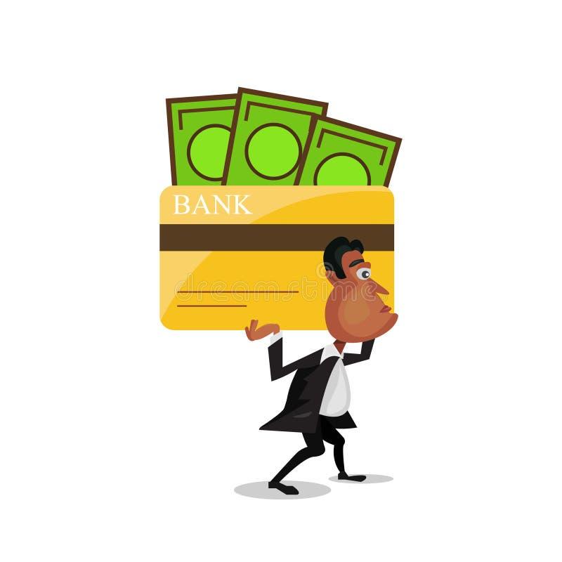 Hombre de negocios que lleva una tarjeta de crédito grande de la deuda en su hombro Este ejemplo es concepto sobre deuda de la ta ilustración del vector