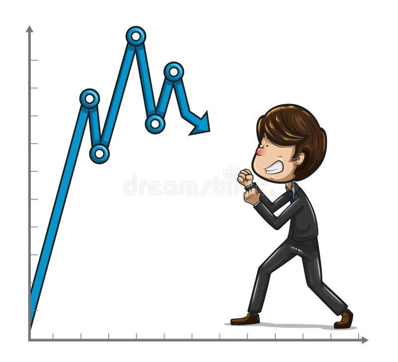 Hombre de negocios que lucha con la cara enojada contra un gráfico azul stock de ilustración
