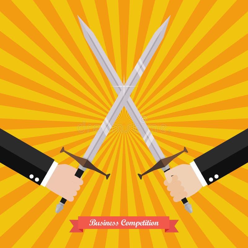 Hombre de negocios que lucha con las espadas ilustración del vector