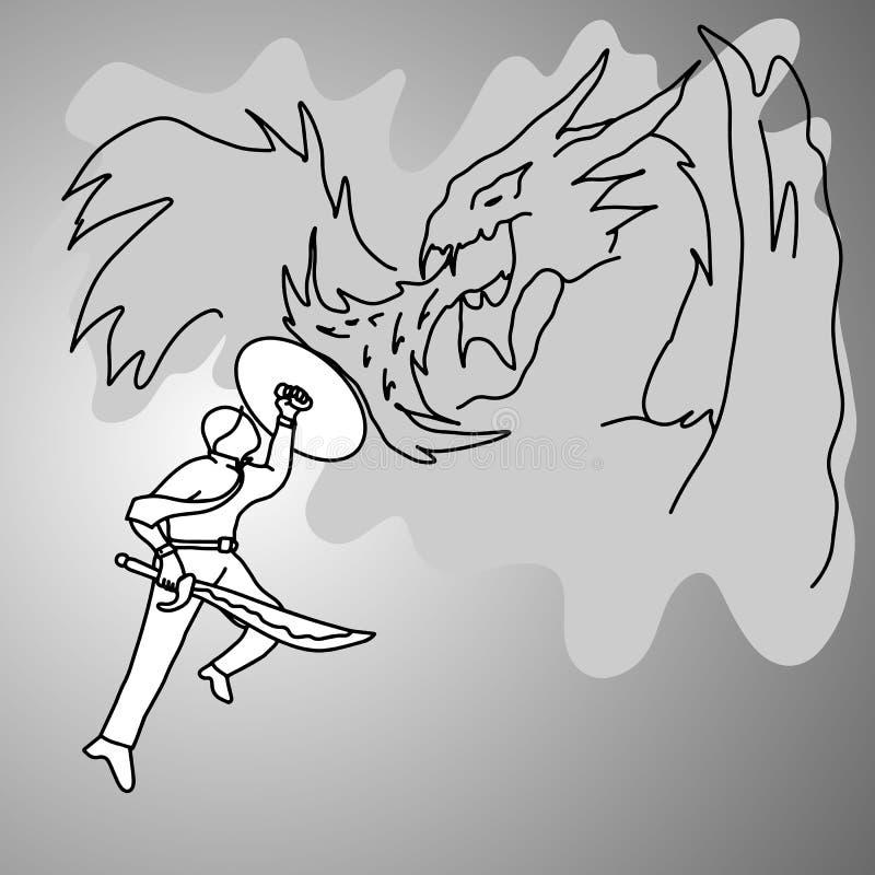 Hombre de negocios que lucha un bosquejo del garabato del ejemplo del dragón ilustración del vector