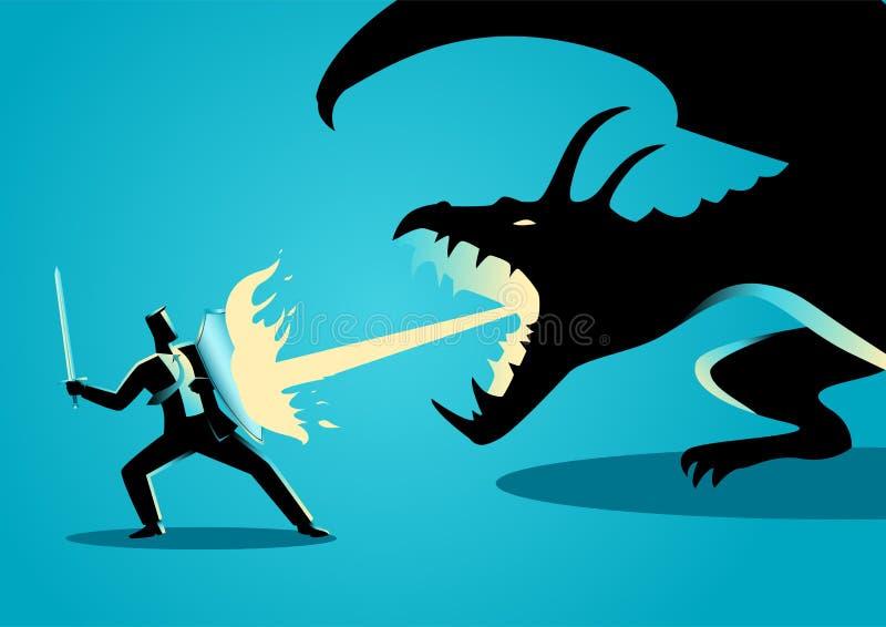 Hombre de negocios que lucha un dragón libre illustration
