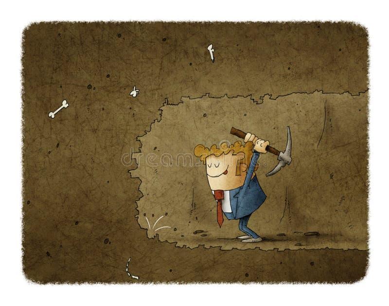 Hombre de negocios que mina para encontrar algo Ejemplo del concepto del asunto libre illustration