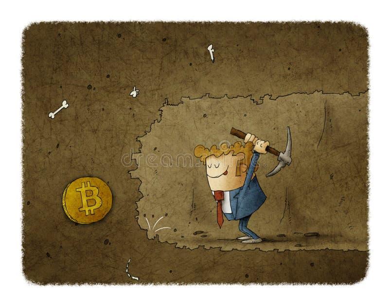 Hombre de negocios que mina para encontrar bitcoins libre illustration