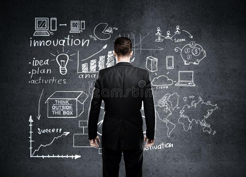 Hombre de negocios que mira al plan empresarial imagen de archivo libre de regalías